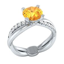 1.45 ct Natural Citrine & Certified Diamond Solid Gold wedding Engagement Ring
