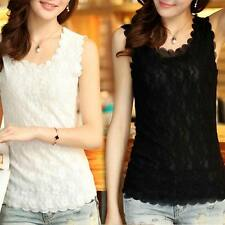 Fashion Women Lady Lace Collar Tank Top Vest Sleeve?less T-Shirt Sexy Blouse