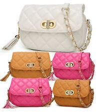 LADIES WOMEN DESIGNER INSPIRED FAUX LEATHER QUILTED TASSEL CROSSBODY BAG