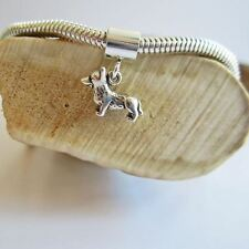 Corgi Charm and Bracelet- Mini Sterling Silver European-Style - Free Shipping