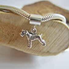 Schnauzer Mini Sterling Silver European-Style Charm and Bracelet- Free Shipping