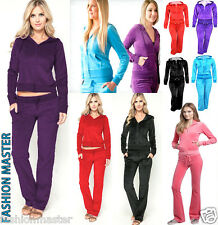 WOMEN LADIES VELOUR FULL TRACKSUIT TOP HOODY POCKETS BOTTOMS TROUSERS PLUS SIZE