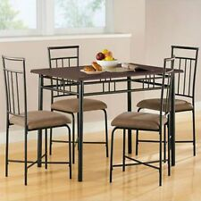 Dining Set Table Chairs Kitchen Furniture Modern 5 Piece Wood Metal Espresso New