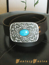 Leather Belt With Turquoise Stone Buckle