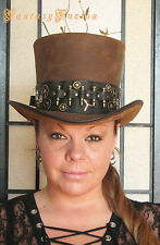 Steampunk Hat Post-Apocalyptic Gears and Bullets Band Leather HIGH Top Hat no.2