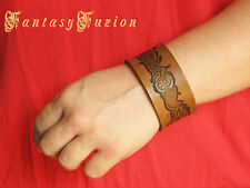 Medieval Tribal Design Leather Cuff Bracelet