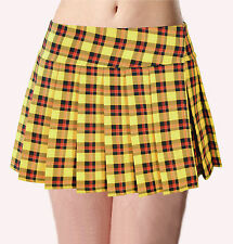 "YELLOW RED and BLACK SCHOOLGIRLTARTAN PLAID PLEATED JUNIOR MINI SKIRT (Unley13"")"