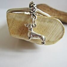 Dachshund Large Sterling Silver European-Style Charm and Bracelet- Free Shipping