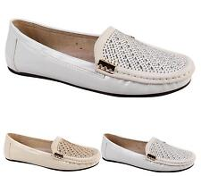 LADIES MOCCASIN DIAMANTE JEWEL FRONT LOAFER FLAT SOLE WALKING SHOES SIZE 3-8