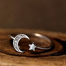 Lucky Star Moon Retro Silver/Bronze Crescent Knuckle Rings Sister Women's Ring