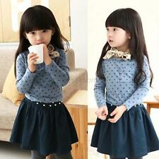 2-7Y Kid Baby Girl Polka Dot Tops Long Sleeve Crewneck Casual T-shirt Blouse