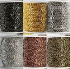 1/5M Gold/Silver Plated Metal Cable Open Link Iron Chain Necklace Findings 3x2MM