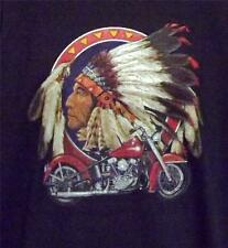 MOTORCYCLE W/ INDIAN HEAD BLACK SLEEVELESS TEE SHIRT SIZES SMALL -2XL