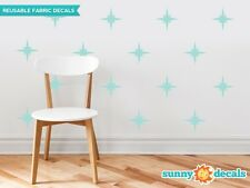 Retro Stars Fabric Wall Decals, Set of 22 Mid Century Modern Stars, Star Pattern