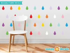 Raindrop Fabric Wall Decals - Set of 40 Raindrops Wall Pattern Decals - 20 Color