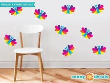 Rainbow Butterfly Fabric Wall Decals, Set of Nine Butterflies, 2 Color Options