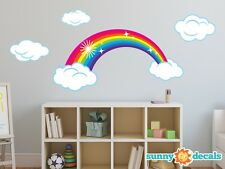 Rainbow Fabric Wall Decal, Sparkling Rainbow with Clouds, Two Color Options