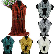 Fashion Womens Special Broken Tassel Fringe Cotton Long Scarf/Infinity Scarf New