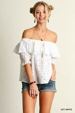 Umgee Top Size S M L Off White Cold Shoulder Eyelet Ruffled Peasant Blouse Tunic