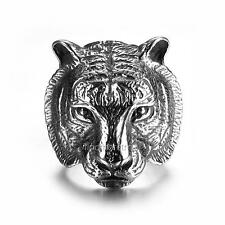New Fashion Mens Jewelry Tiger Head 316L Stainless Steel Punk Biker Men Ring