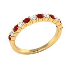 0.45 ct Real Ruby & Certified Diamond Solid Gold Half Eternity Wedding Band