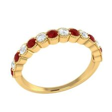 0.60 ct Natural Red Ruby & Diamond Solid Gold Half Eternity Wedding Band