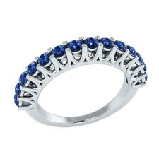0.70 ct Natural Round Blue Sapphire Solid Gold Half Eternity Wedding Band Ring