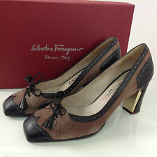 *NEW* SALVATORE FERRAGAMO Size UK 3.5 Leather Suede Brown Brogue Heel Shoe 1051