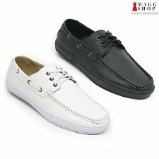 New Mens Black White Sneakers Leather Lining Casual Boat Slip On Summer Shoes