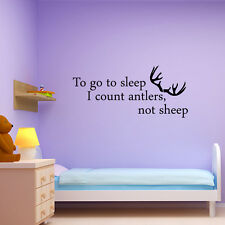 VINYL WALL ART DECAL QUOTE BEDROOM HOME TO GO TO SLEEP I COUNT ANTLERS NOT SHEEP