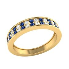 0.55 ct Real Blue Sapphire & Certified Diamond Solid Gold Half Eternity Band