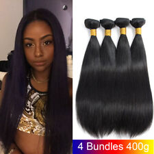 4 Bundles Straight Weave Brazilian Virgin Human Hair Extensions Natural Color