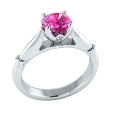 1.25 ct Solitaire Natural Pink Sapphire Solid Gold Wedding Engagement Ring