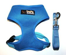USA Seller Dog Clothes Soft Mesh Dog Puppy Harness + Leash BLUE size XS S M L XL