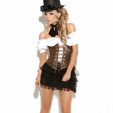 Sexy Brown Steampunk Gothic faux leather underbust Corset basque - IN STOCK