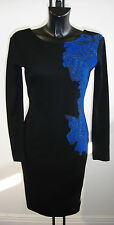 D.EXTERIOR BLACK KNITTED DRESS WITH BLUE LACE DETAIL BNWT