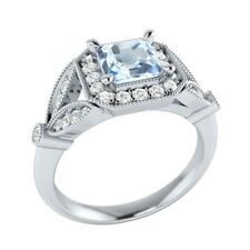 0.95 ct Natural Aquamarine & Certified Diamond Solid Gold Wedding Ring