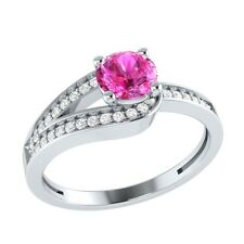 0.70 ct Natural Pink Sapphire & Diamond Solid Gold Wedding Engagement Ring