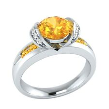 1.10 ct Natural Citrine & Certified Diamond Solid Gold Wedding Engagement Ring
