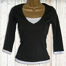 NEW LOOK FABULOUS BLACK JERSEY TOP WHITE TRIM | SALE | Was £16
