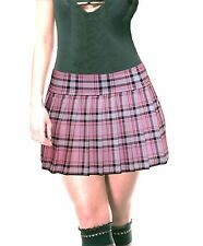 "PLUS SIZE PINK STRETCH LYCRA SCHOOLGIRL TARTAN PLAID PLEATED MINI SKIRT 14""-15"""