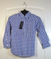 NWT BOYS TOMMY HILFIGER BLUE PLAID LONG SLEEVE BUTTON UP DOWN SHIRT SZ XS S M