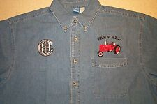 Mens Farmall H/M & IH Collectors Logo Embroidered Denim Shirt with Pocket