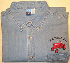 Mens Farmall Cub Embroidered Denim Shirt with Pocket