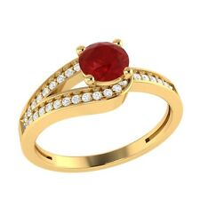 0.70 ct Natural Ruby & Certified Diamond Solid Gold Wedding Engagement Ring