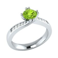0.55 ct Natural Peridot & Certified Diamond Solid Gold Wedding Engagement Ring