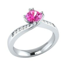 0.55 ct Natural Pink Sapphire & Diamond Solid Gold Wedding Engagement Ring