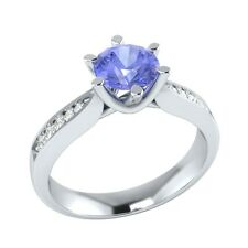 0.95 ct Natural Tanzanite & Certified Diamond Solid Gold Wedding Engagement Ring