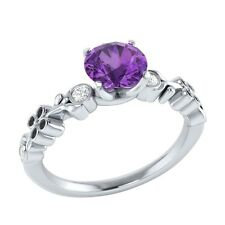 0.69 ct Natural Amethyst & Certified Diamond Solid Gold Wedding Engagement Ring
