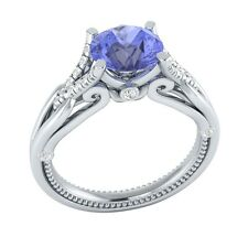 1.15 ct Natural Tanzanite & Certified Diamond Solid Gold wedding Engagement Ring